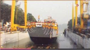 Спуск корабля на воду в Индии